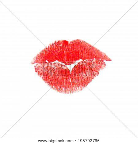Beautiful lips kiss trace, isolated on white background
