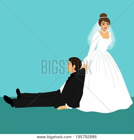 Bride and groom Cartoon. Funny. Couple. Wedding card with the newlyweds. Vector illustration.