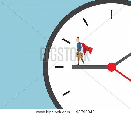businessman in red cape standing on clock time management concept cartoon vector illustration