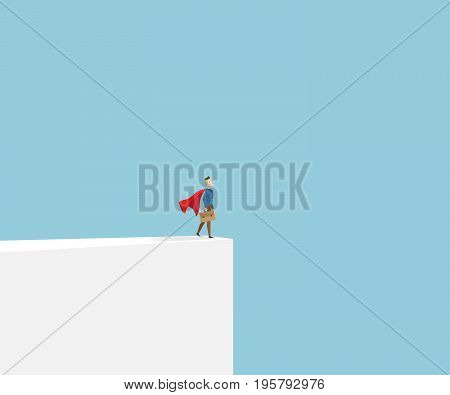 businessman in red cape standing at cliff business vision concept cartoon vector illustration