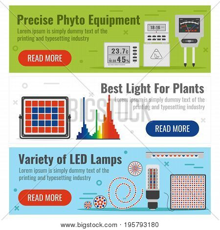 Vector horizontal three banners for LED lighting and appliances in flat style with buttons. Phyto equipment, variety of lamps and light wave length chart as captions on colored backgrounds