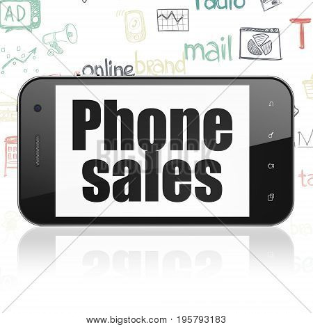 Advertising concept: Smartphone with  black text Phone Sales on display,  Hand Drawn Marketing Icons background, 3D rendering