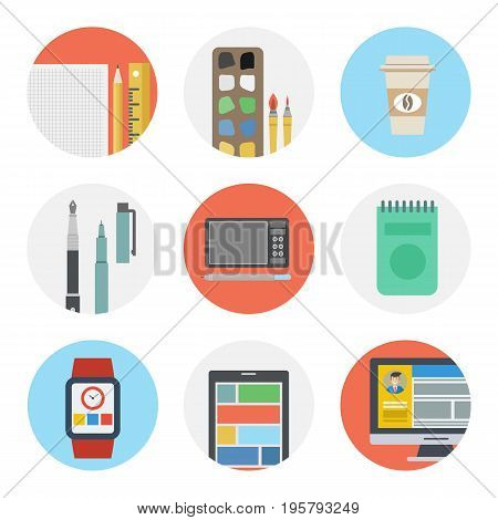 Vector set of nine flat round icons for web designer. The necessary tools for living and computer drawing, liners, smart watch, coffee