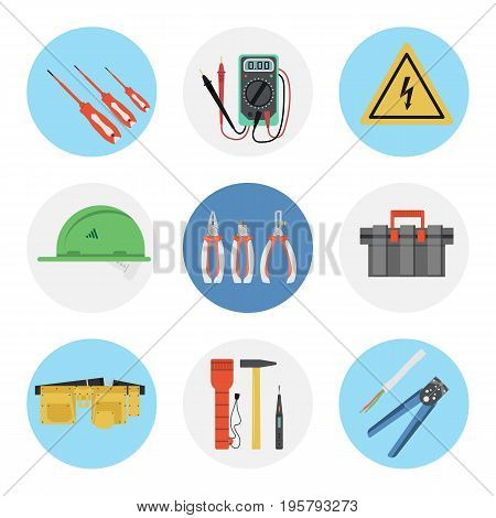 Vector set of nine flat round icons for electrical tools. Green hard hat, tool belt and box and many special professional devices