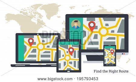Vector illustration. City map with pointer and travel route on varios computers. Tracking of cargo, find right route by computer, laptop, tablet and smart phone. Horizontal web banner in flat style