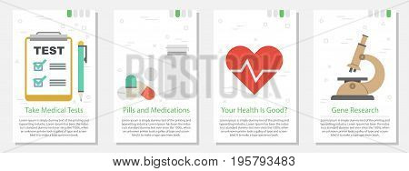 Vector vertical four banners on white background for medicine. Medical test, pills, heart, research in flat style
