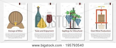 Vector vertical four banners on white background for vine making. Viticulture tools, barrels, bottle storage, cheese and grapes in flat style