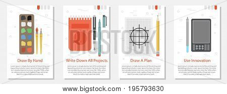 Vector vertical four banners on white background for Designer Tools. Equipment for living and computer drawing, liners, watercolors, note book, digital tablet in flat style