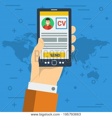 Vector illustration. Businessman send CV electronic resume by smart phone, searching for new work. Square flat web banner