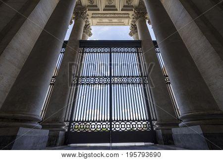 Architectural details of basilica di San Giovanni in Laterano (St. John Lateran basilica). Italy Rome June 2017
