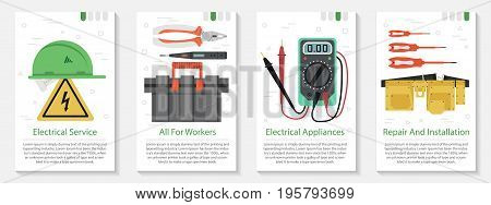 Vector vertical four banners on white background for electrician tools. Yellow hard hat, tool belt and box and many special professional devices in flat style