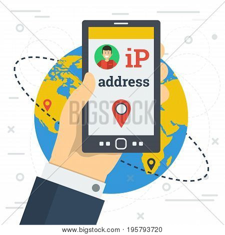 Vector illustration. Businessman hand with smart phone and changes the IP address between two points on world map