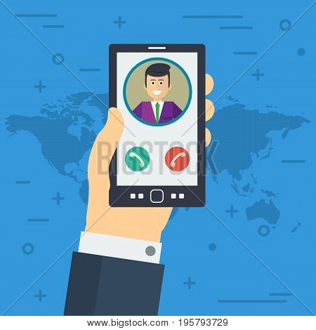 Vector illustration. Businessman hand accepts the phone call. Finger, avatar and two buttons in flat style. Square web banner