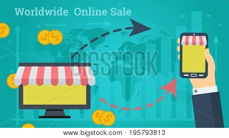 Vector illustration. Horizontal flat business web banner of worldwide online market. Internet shopping, hand with phone, money and arrows