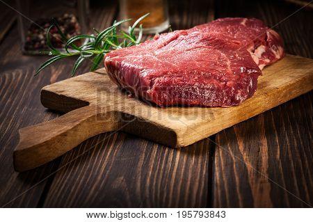 Fresh Raw Beef Steak Sirloin With Rosemary