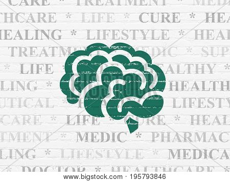 Medicine concept: Painted green Brain icon on White Brick wall background with  Tag Cloud