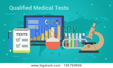 Vector illustration. Horizontal flat business web banner of qualified medical tests. List, computer, microscope, laboratory and blood samples