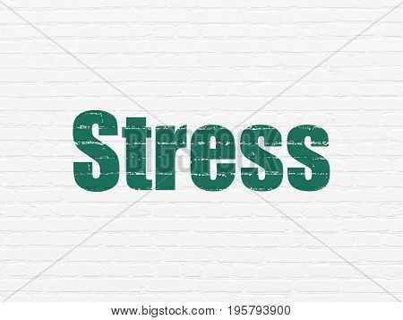 Medicine concept: Painted green text Stress on White Brick wall background