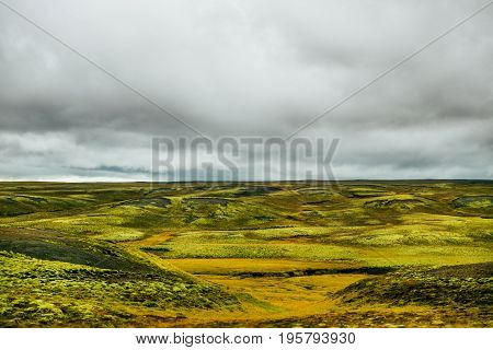 The lava field at Eldhraun, Iceland. Lava fields covered with green spongy moss. Unusual nature. Arctic Circle. Ring rode bad weather. Viewpoint of Intact nature. Cloudy weather. Hiking route.