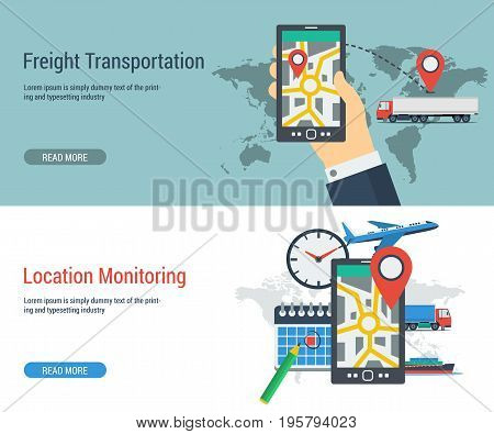Vector two horizontal banner of monitoring freight transport. Tracking of cargo during shipping. Smartphone with location place of load, clock, calendar with text and buttons