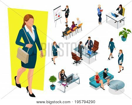 Isometric elegant business women in formal clothes. Base wardrobe, feminine corporate dress code. Business negotiations concept. Set for creating an office worker character