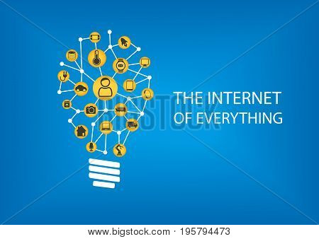 Internet of everything (IOT) concept. Vector illustration of connected devices represented by smart light bulb.