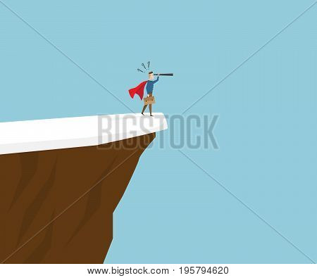 businessman in red cape with telescope standing at cliff business vision concept cartoon vector illustration