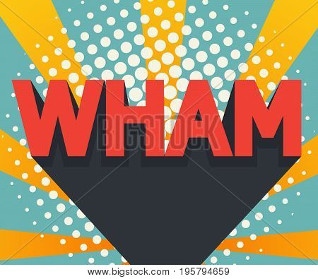 abstract wham pop art comic book background with retro color vector illustration