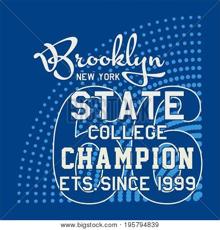 graphic design BROOKLYN NEW YORK STATE for shirt and print