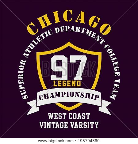 graphic design CHICAGO SUPERIOR ATHLETIC for shirt and print