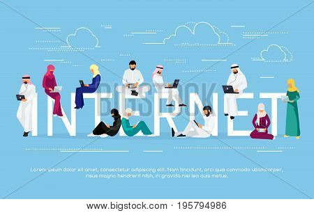 Young Muslim people with tablet pc and laptops are engaged in distance learning on the Internet. Muslim man and woman in traditional arabic clothes read using gadgets. Vector illustration.