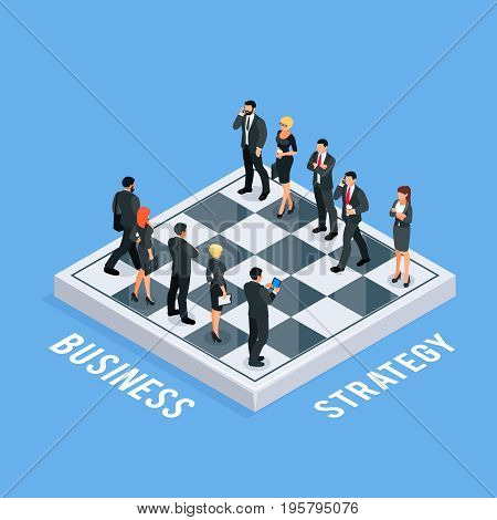 Isometric concept of business strategy. 3d chess with businessmen and business women as figures. Two rival teams on the chessboard. Vector illustration.