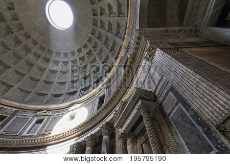 Dome of the Pantheon. Inside view. Pantheon was built as a temple to all the gods of ancient Rome. Rome Italy. June 2017