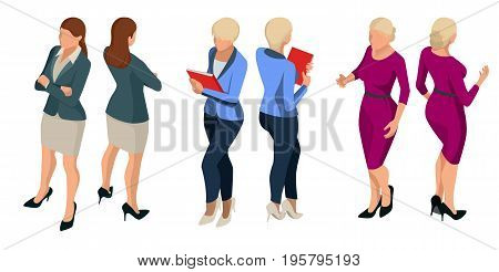 Isometric elegant business women in formal clothes Base wardrobe, feminine corporate dress code Vector illustration with isolated characters Trendy isometric People behind a front view of visas.