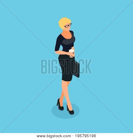 Isometric business woman isolated on blue background. 3d business woman comes with a cup of coffee in her hand and a briefcase. Vector illustration.