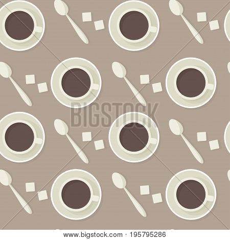 Coffee cups, spoons and shugar seamless vector pattern.