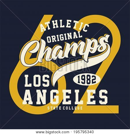 graphic design ATHLETIC ORIGINAL CHAMPS for shirt and print