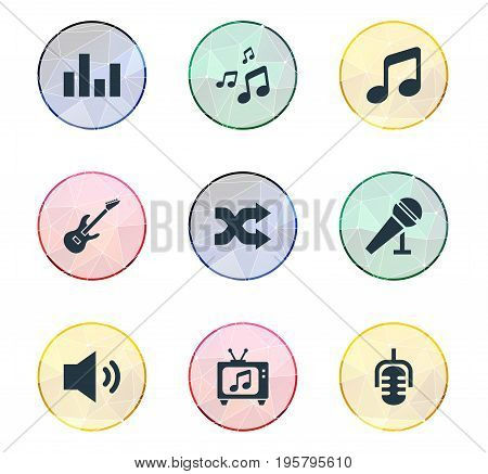 Vector Illustration Set Of Simple Music Icons