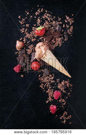 A Cone Of Chocolate Ice Cream
