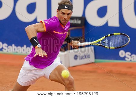 BARCELONA, SPAIN - APRIL, 27:  Spanish tennis player Rafael Nadal in action during a match of Barcelona tennis tournament Conde de Godo on April 27, 2017 in Barcelona Spain