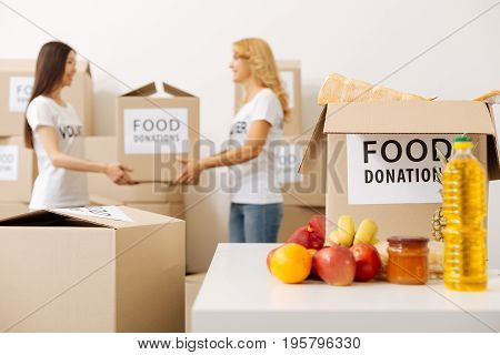 Assisting fellow volunteer. Gorgeous clever sincere ladies carrying packages with donated food while preparing a shipment for those in need and working as volunteers