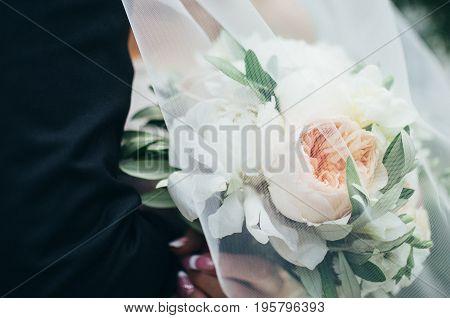 Wedding Bouquet Under The Veil