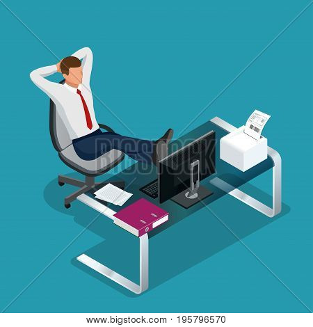 Office employee is resting flat 3d vector isometric illustration. Businessman sitting calmly on a casters chair legs crossed and hands behind head. Business boss man resting in a calm pose.