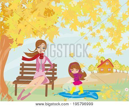 Fun in the autumn day , vector illustration