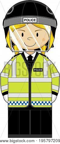 Hi-vis Riot Policewoman