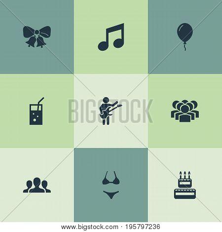 Vector Illustration Set Of Simple Celebration Icons