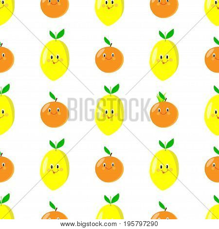 Lemon orange cartoon seamless pattern acid, citrus, lemonade