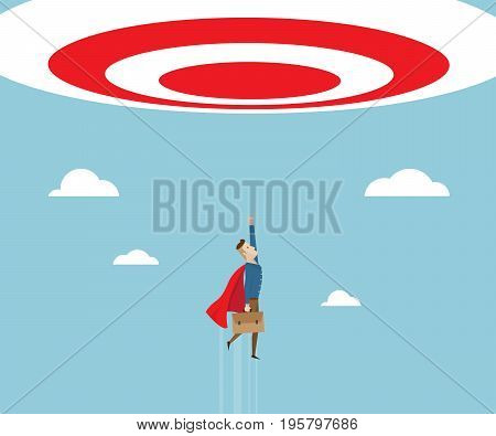 businessman in red cape with breafcase in hand flying to target business success concept cartoon vector illustration