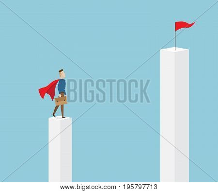 businessman in red cape and briefcase in hand standing on pillar and looking to target on higher pillar business vision concept cartoon vector illustration