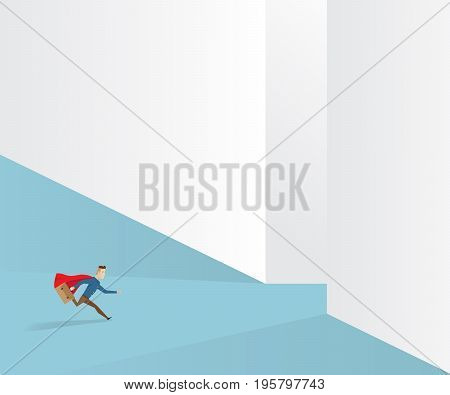businessman in red cape and briefcase in hand running to exit way business vision concept cartoon vector illustration